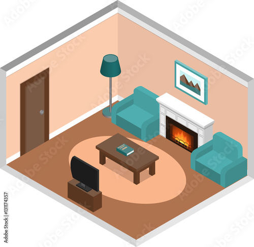 Living room design interior in isometric style with for Planificador habitacion 3d