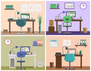 Workspace or workplace at home. Room design in flat style. Office interior with furniture and equipment. Set vector illustrations on business theme.