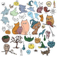 Halloween set with different animals isolated on white. Contour,color