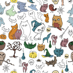 Seamless halloween pattern with different animals. Contour,color