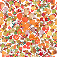 Seamless Christmas pattern with festive fruits,spice and berries.Yellow, red and beige color. Endless texture.