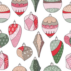 Seamless Christmas pattern with stylized decorate toys. Vintage, red and green color. Endless texture.