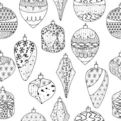 Seamless Christmas pattern with stylized decorate toys. Contour,black and white. Endless texture.