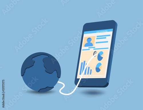 """Connecting People By Smartphone Vector Concepts On A Blue"