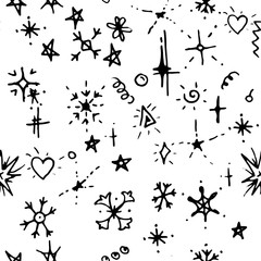 Seamless Christmas pattern with doodle festive snowflakes. Contour,black and white. Endless texture.