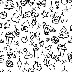 Seamless Christmas pattern with doodle festive symbols. Contour,black and white. Endless texture.