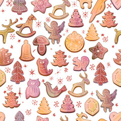 Seamless Christmas pattern with festive cookies.Yellow, white and beige color. Endless texture. Watercolor effect