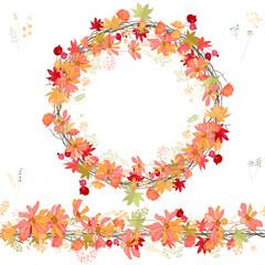 Round autumn wreath and horizontal border on white background.