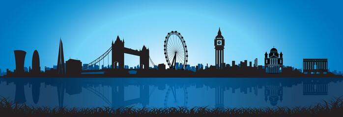 London Skyline Silhouette at night
