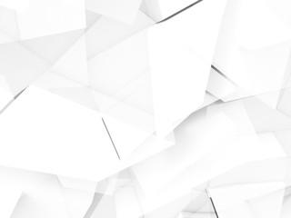 White chaotic polygonal pattern, 3d
