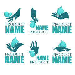 vector collection of clean women hands and fresh water, logo col