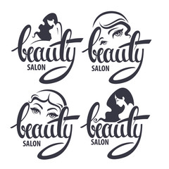 beauty and hairstyle salon logo and emblem collection with Beaut