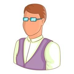 Man in glasses avatar icon. Cartoon illustration of avatar vector icon for web design