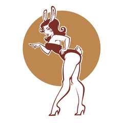 Pinup rabbit, vector illustration in retro style, girl in bunny