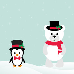 cute penguin with snow and winter teddy