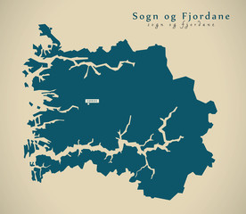 Modern Map - Sogn og Fjordane Norway NO illustration
