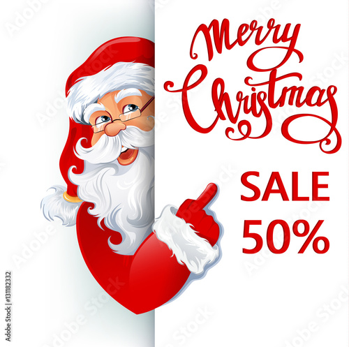 aaf5c25b3539 Happy smiling Santa Claus standing behind a sign