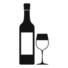 Bottle of wine icon. Simple illustration of bottle of wine vector icon for web
