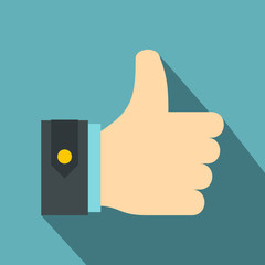 Thumbs up icon. Flat illustration of thumbs up vector icon for web