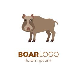 Flat vector boar logo