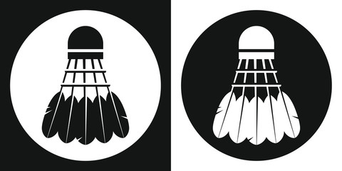 Badminton shuttlecock icon. Silhouette badminton shuttlecock on a black and white background. Sports Equipment. Vector Illustration.