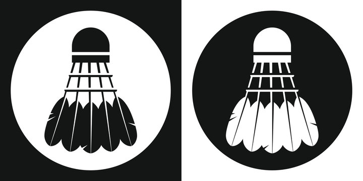 Badminton shuttlecock icon. Silhouette badminton shuttlecock on a black and white background. Sports Equipment. Vector Illustration.