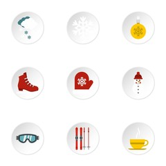 Weather winter icons set. Flat illustration of 9 weather winter vector icons for web