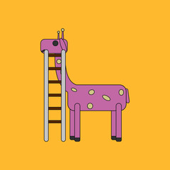 an animal with colorful backgrounds Giraffe with ladder
