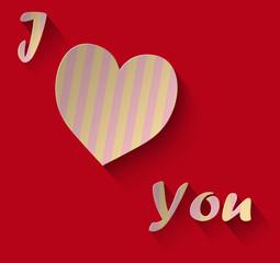 Cuore a striscie con scritta j love you su sfondo rosso