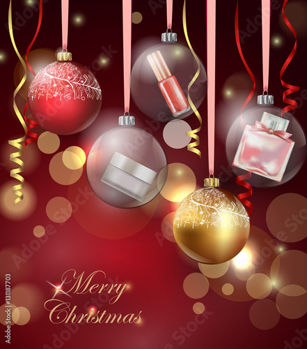 Christmas Leaflet Background.Beauty And Cosmetics Background With Christmas Tree Branches