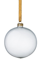 Transparent, glass christmas ball isolated on white background