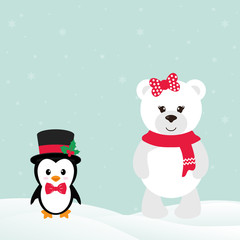cute penguin with snow and winter bear