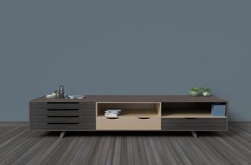 Cabiet in room interior background dark color style,3D rendering