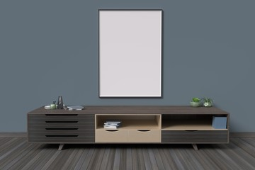 Poster frame in room interior background dark color style,3D rendering