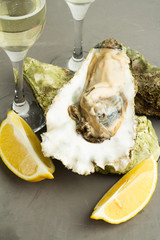 oysters, lemon and champagne