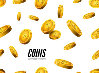 Gold coin seamless pattern. Wealth business background. Dollar finance success pattern. Vector money currency