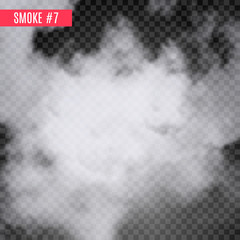 Vector smoke special effect on transparent. Fog isolated design background. Smoky effect.