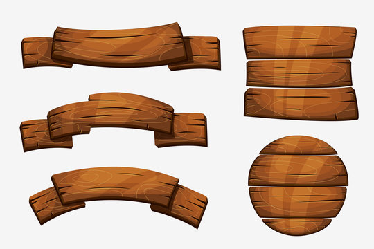 Cartoon wooden plank signs. Wood banner vector elements isolated on white background