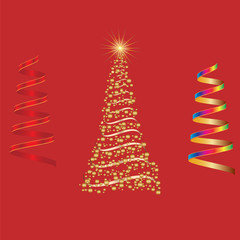 set of shiny Christmas tree and serpentine element for design vector