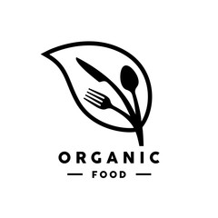 Organic food logo with abstract leaf and fork, knife and spoon icon. Vector illustration.