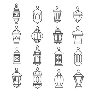 Ramadan vintage lantern linear icons. Vector muslim antique lamp symbols