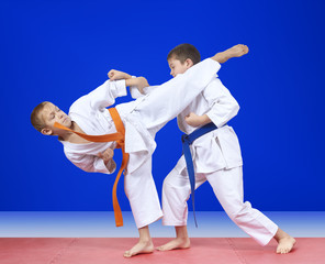 Sportsmen are training blows karate on the mats