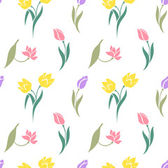 Floral seamless pattern with tulips.