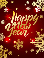 Happy New Year lettering. Hand written Happy New Year poster. Mo