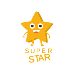 Super Star Word And Corresponding Illustration, Cartoon Character Emoji With Eyes Illustrating The Text