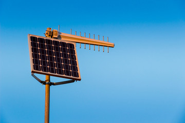 Solar energy powered radio transmitter