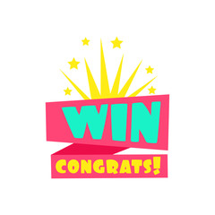 Win Congratulations Sticker Design Template For Video Game Winning Finale With Fireworks