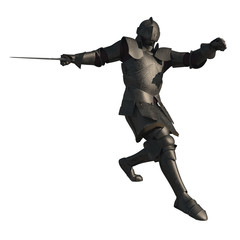Illustration of a Medieval Knight in Fighting Pose