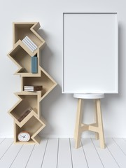 Bookshelf on the wall with books and white picture frame,3D rendering