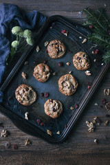 Cranberries and walnuts chestnut chocolate cookies